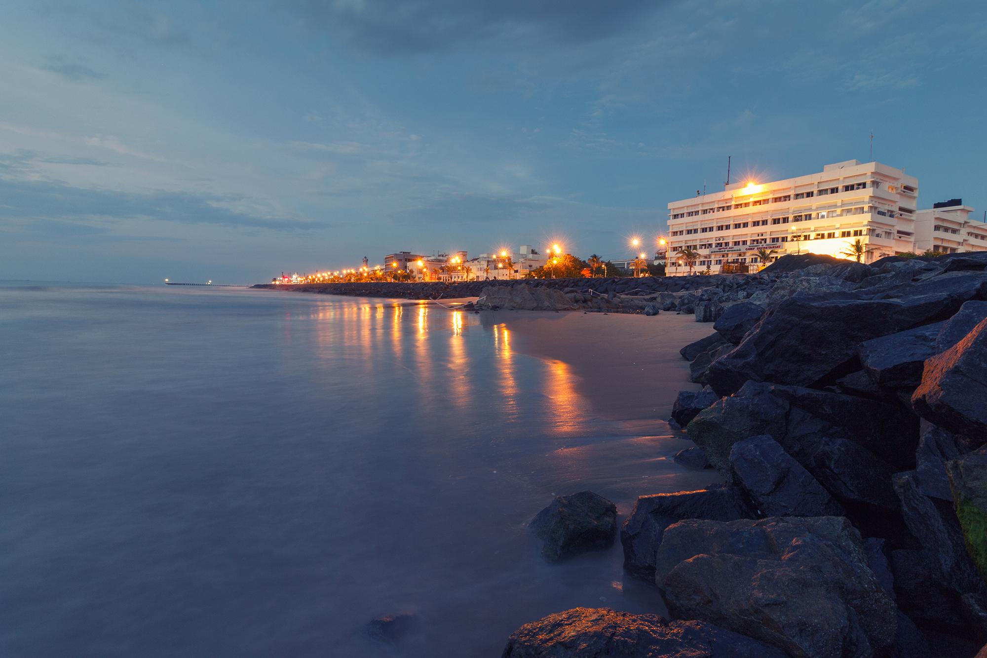 pondicherry beach promenade beach at night