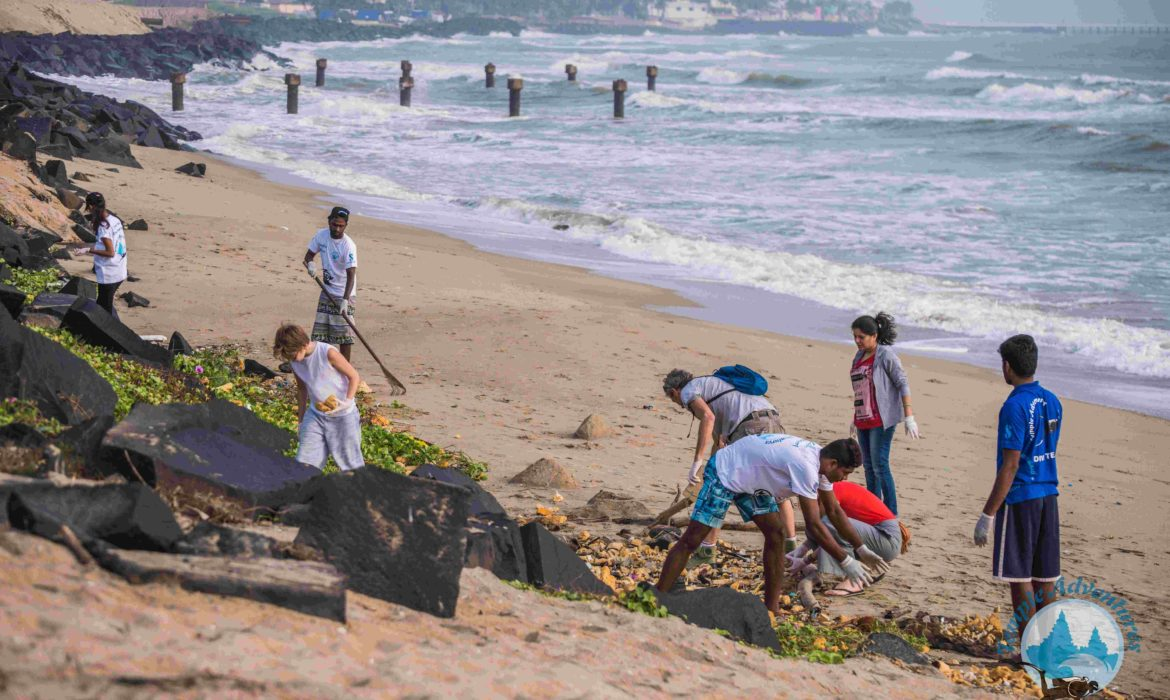 beach clean-up by temple reef foundation at Pondicherry's promenade beach