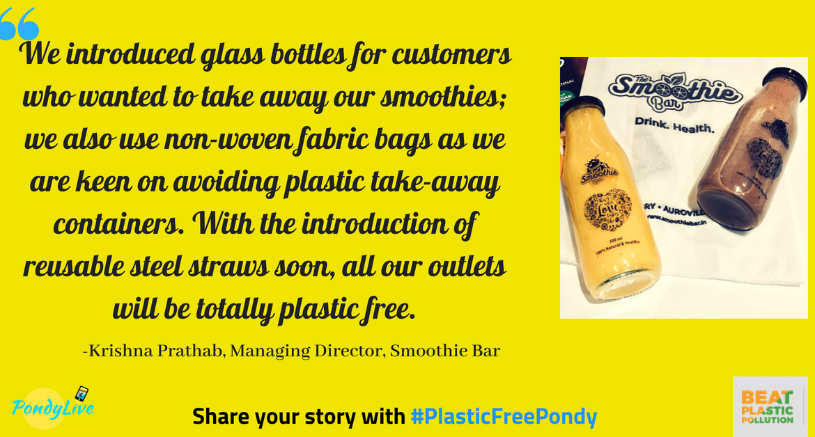 #PlasticFreePondy: This cafe lets you take away drinks in glass bottles