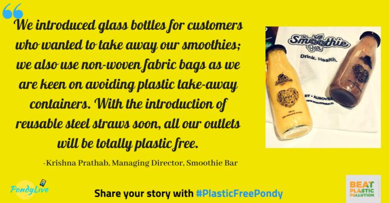 smoothie bar pondicherry uses glass take-away bottles instead of plastic bottles