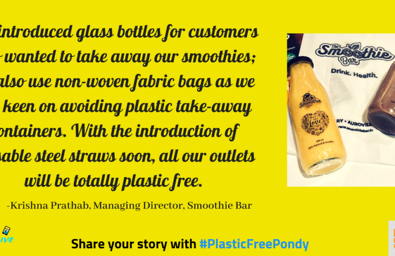 smoothie bar pondicherry uses glass take-away bottles instead of plastic bottles
