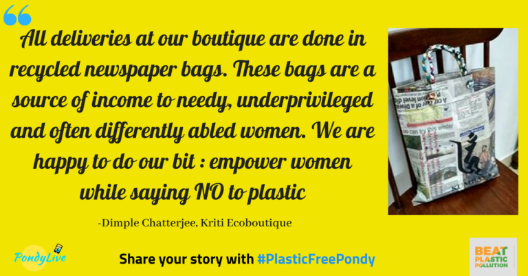 kirti eco boutique in pondicherry recycles newspapers into bags to avoid plastic