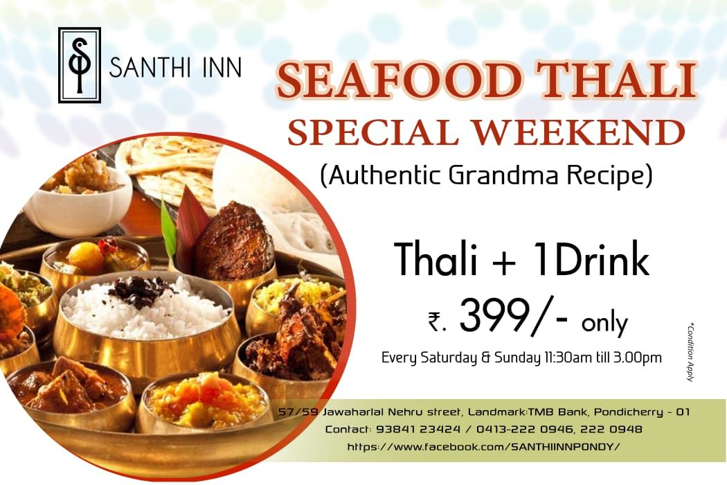 seafood thali on weekends at santhi inn at pondicherry