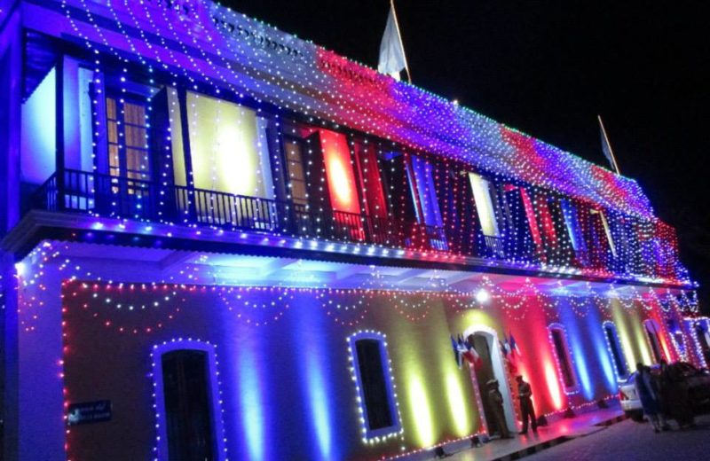 French consulate in Pondicherry lit up on Bastille Day