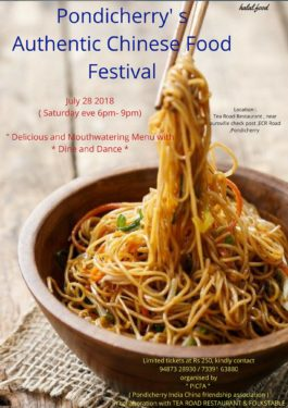 CHINESE FOOD FESTIVAL IN PONDICHERRY HOSTED BY THE PONDICHERRY INDIA CHINA FRIENDSHIP ASSOCIATION