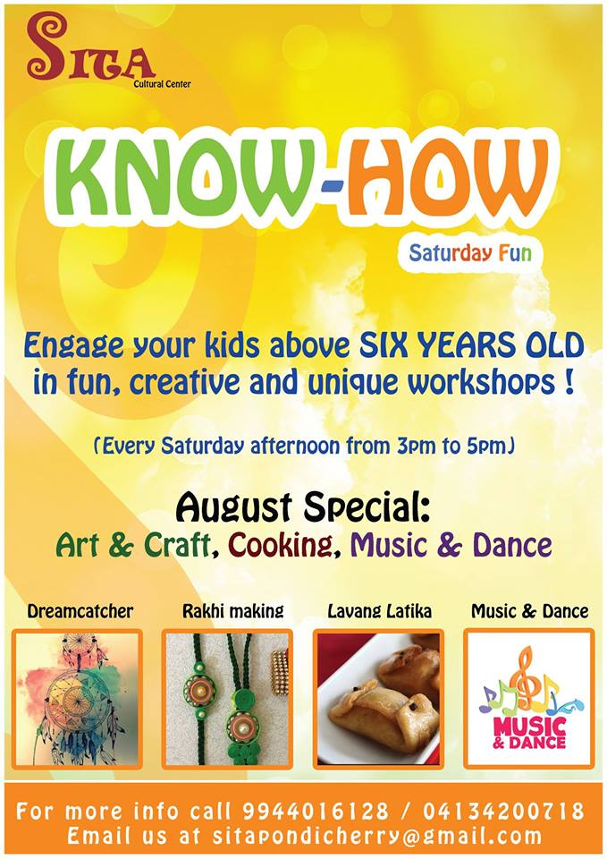 kids workshops on saturday afternoons in pondicherry at sita cultural centre
