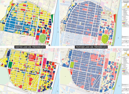IMAGE SHOWING EXISTING LAND USE AND DARFT OF CDP COMPRHENSIVE DEVELOPMENT PLAN FOR BOULEVARD IN PUDUCHERRY