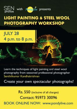 light painting and steel wool photography workshop in pondicherry