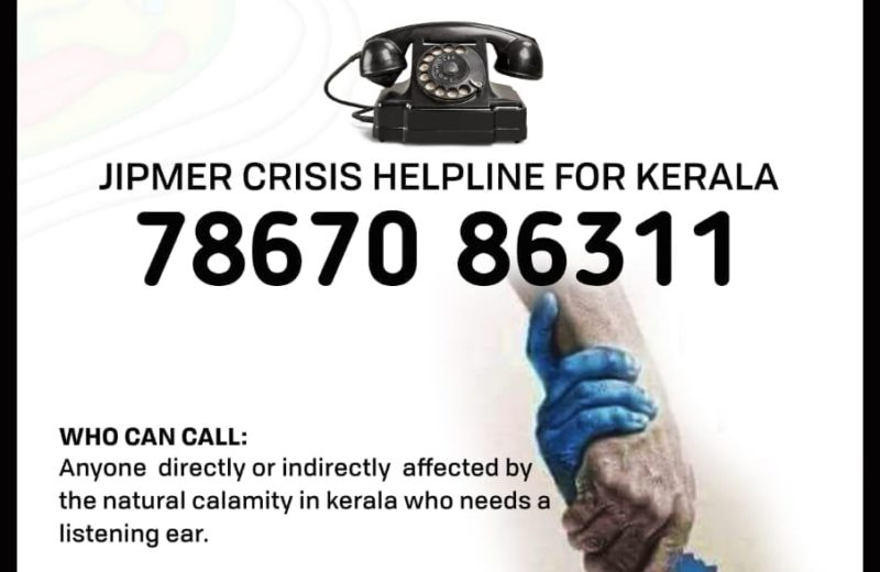 jipmer launches helpline for counselling for those affected by Kerala flood