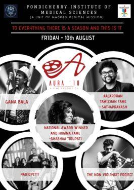 gana bala shashaa tirupathi radiopetti singer Sathyaprakash and the non violinist project perform at aura 2018 in pims pondicherry