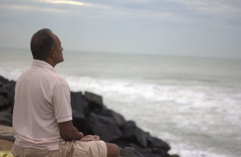 meditation on pondicherry beach also called as the promenade beach in pondicherry which has received smart city status