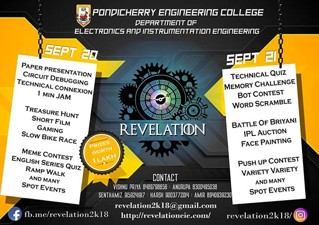 revelation 2k18 held by Pondicherry engineering college