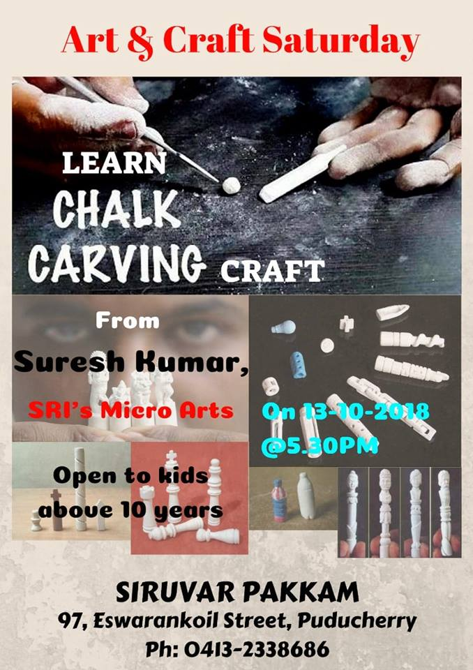 chalk carving for kids by Sri micro arts at siruvar pakkam in pondicherry