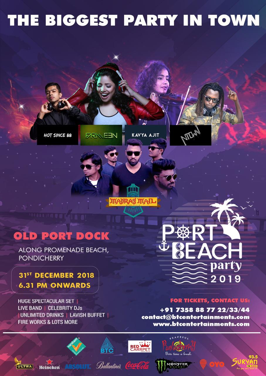 PORT BEACH PARTY 2019 BEACH PARTY NEW YEAR'S EVE PARTY IN PONDICHERRY