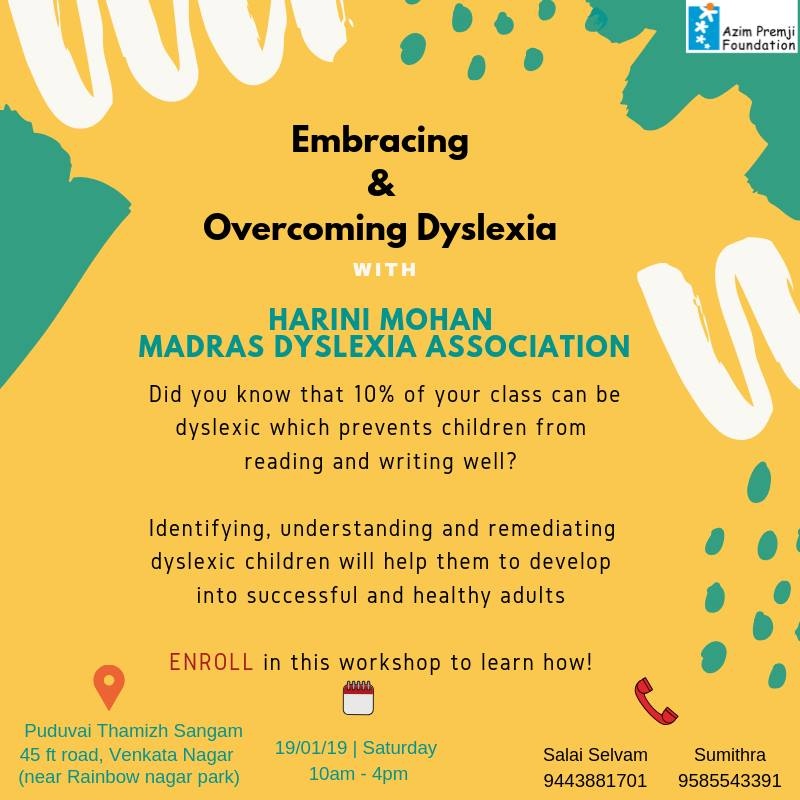 Embracing and Overcoming Dyslexia Azim Premji Foundation Puducherry