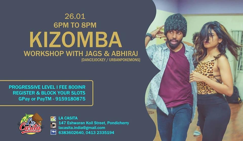 KIZOMBA WORKSHOP - PROGRESSIVE LEVEL with Jegatha Muralidharan [DanceJockey] - 3 Times Asia Kizomba Pro Champion and Abhiraj Abhi [UrbanPokemons] - 2X Asia Kizomba Pro Runner Up