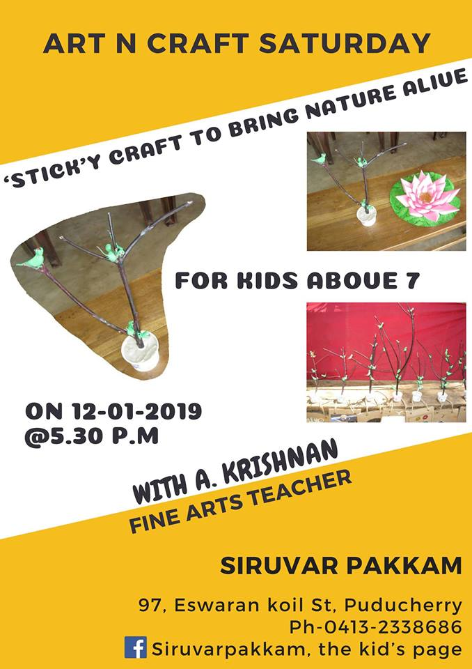 Sticky craft to bring nature alive Hosted by Siruvar Pakkam, the Kid's Page, Puducherry