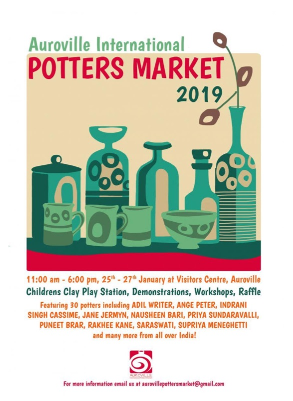 binannual international potters market in auroville in 2019 features potters between January 25 and 27 in auroville. visit the auroville potters market