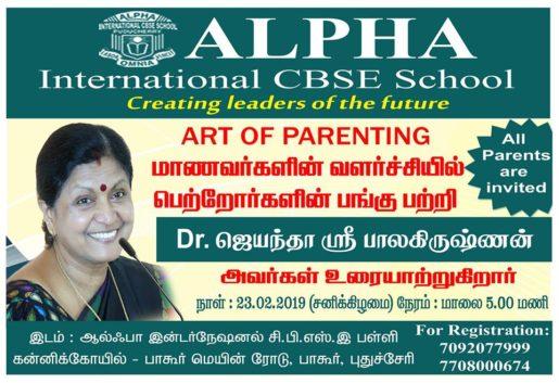 "Dr.Jayantha sri balakrishnan speaks about ""ART OF PARENTING"" on Saturday"