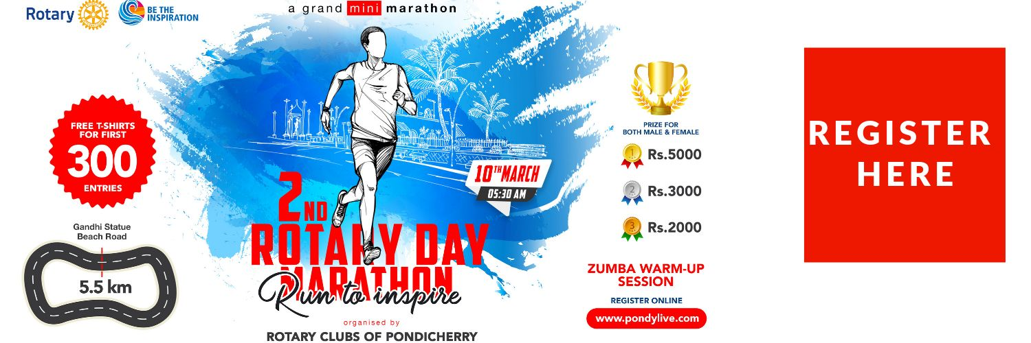 register now for the rotary day mini marathon in Pondicherry on march 10