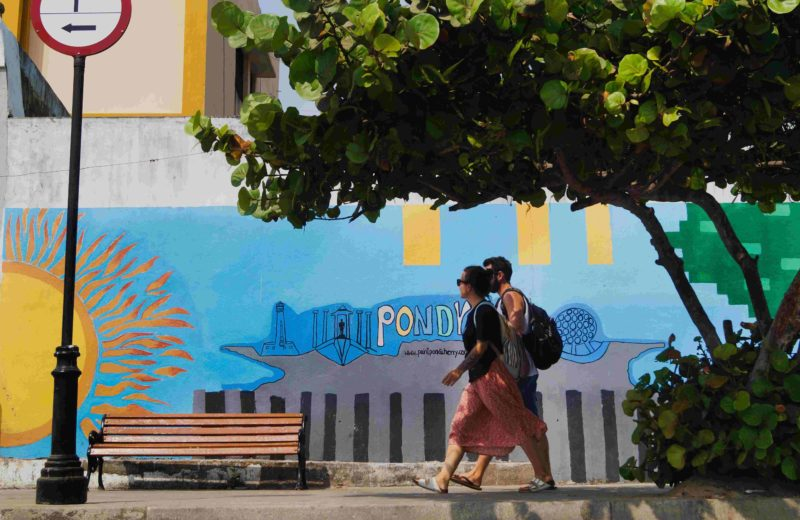 wall paintings and street art are common on the streets of pondicherry and in the beach near pondicherry