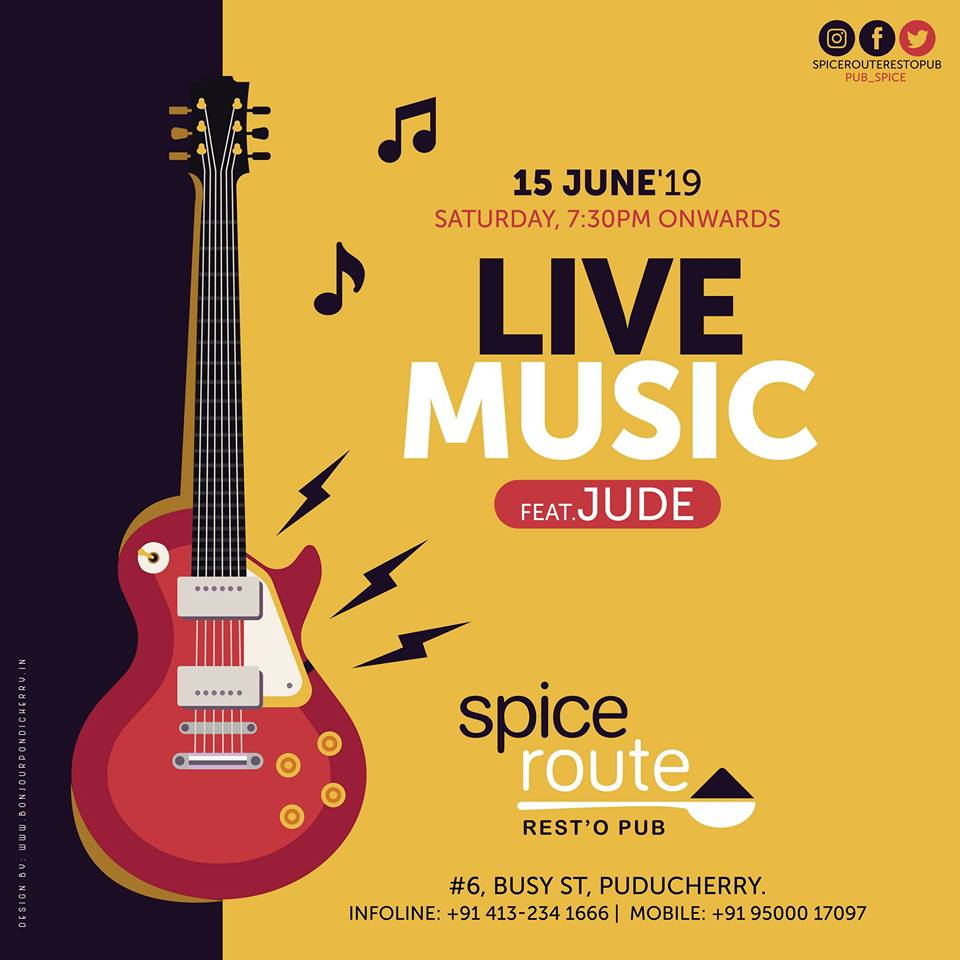 Live Music at Spice Route Restopub on June 15 (Saturday) - 7:30pm onwards, ft. Jude Band