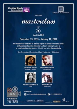 Masterclass series to be anchored in the exciting multi-dimensional space of Auroville;