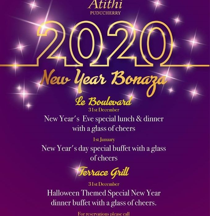 new year gala buffet on New Year's Eve dinner at hotel Atithi pondicherry