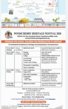 Pondicherry Heritage Festival Programme for Children