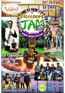 Freedom Jam 2020 Pondicherry Free Music Fesitval by the beach in Pondicherry