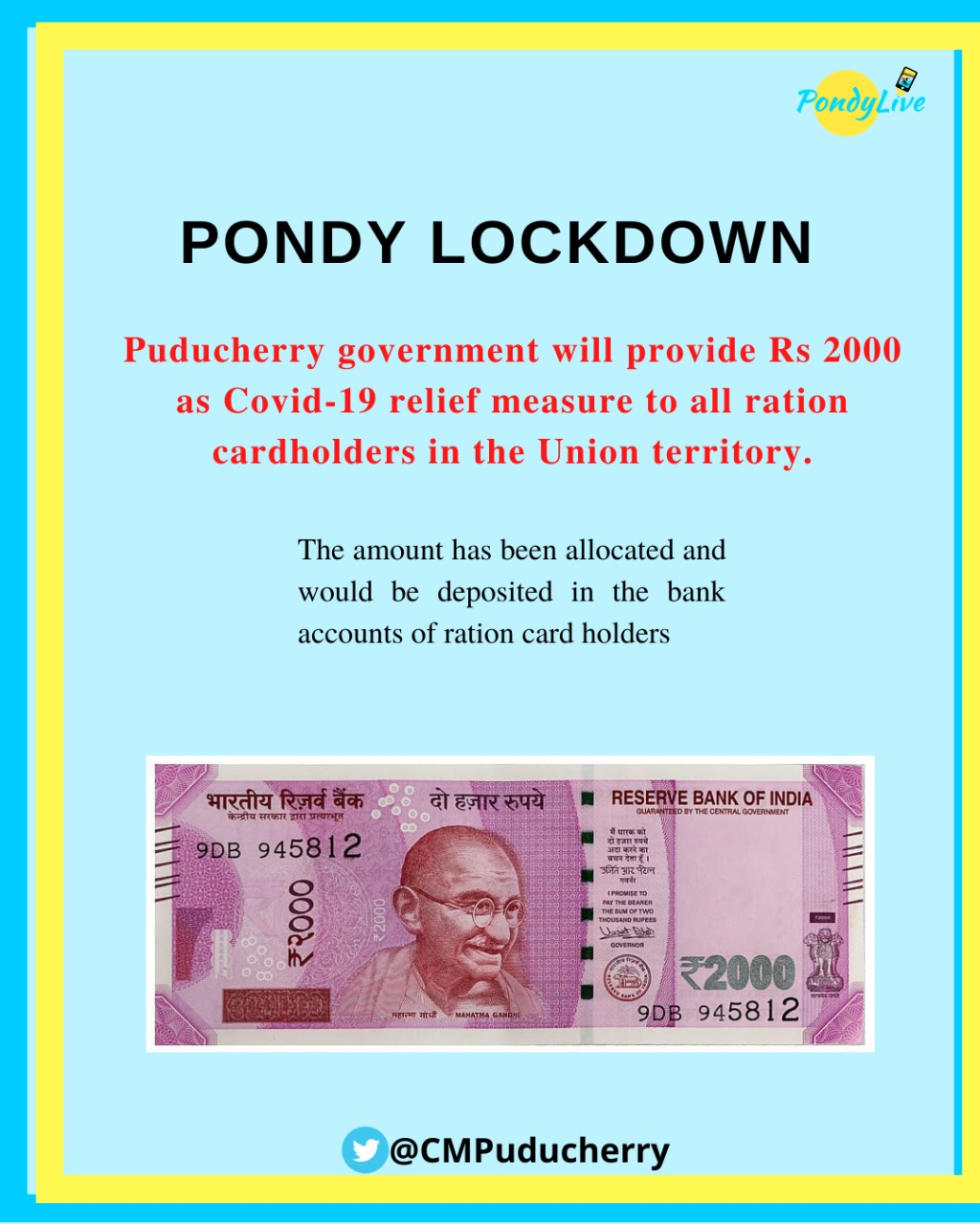 PUUCHERRY GOVERNMENT GIVES RS 200 0 TO ALL RATION CARD HOLDERS AS CORONA RELIEF FUND