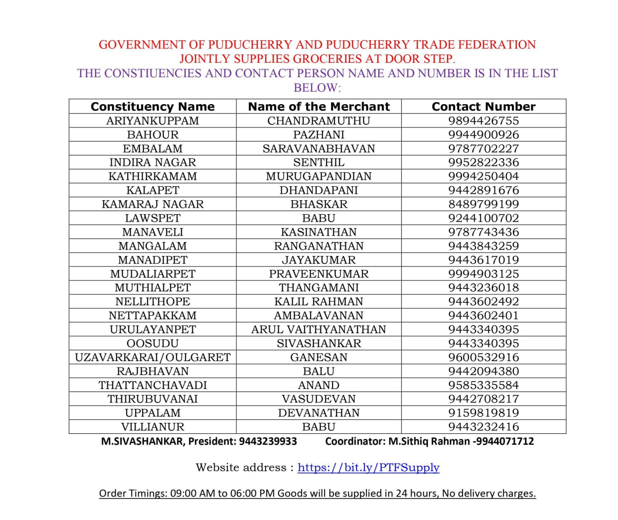 government of pondicherry grocery delivery to doorstep by district admin and pondicherry traders federation