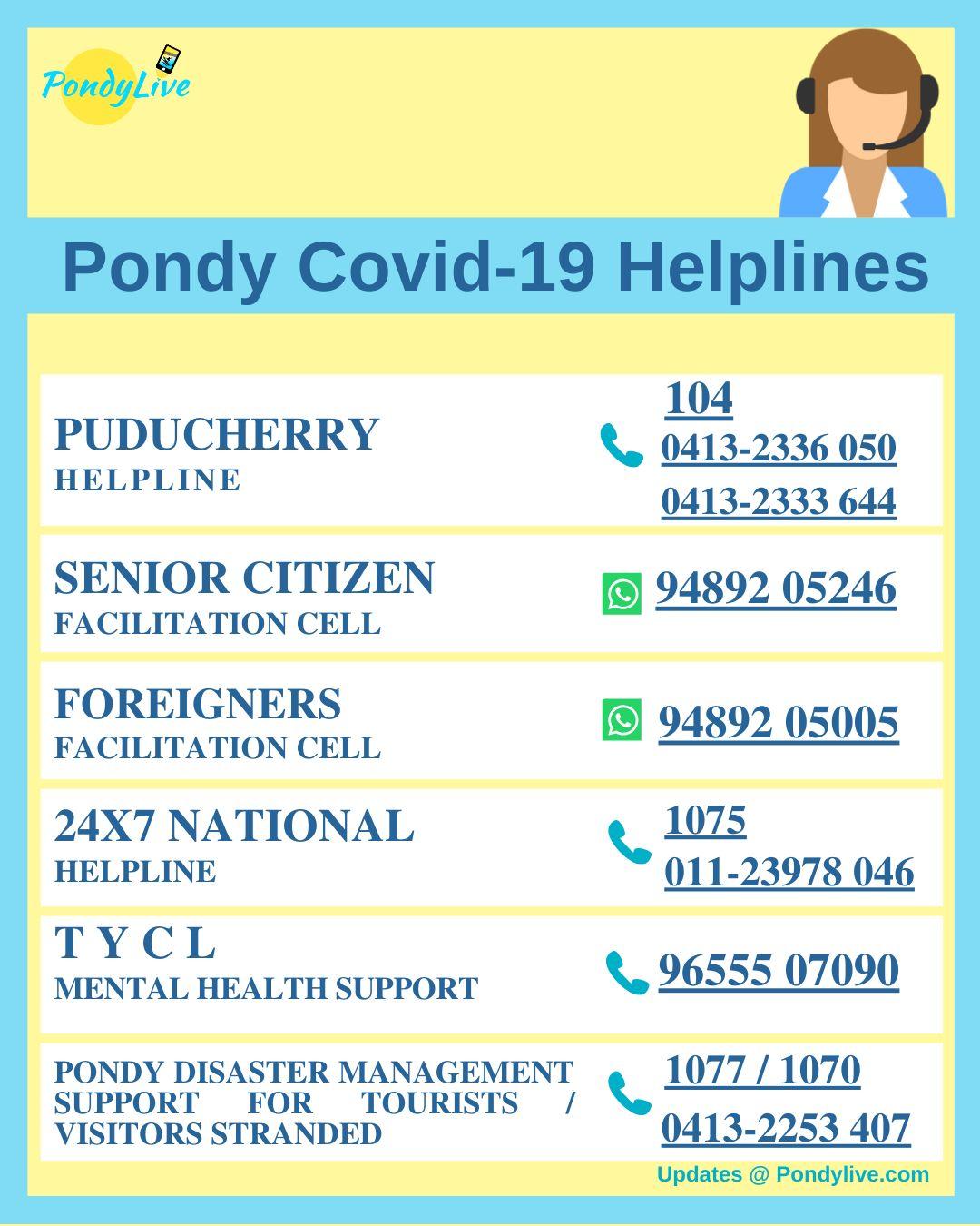 Puducherry Helpline for coronavirus and covid19 . helpline for seniors etc